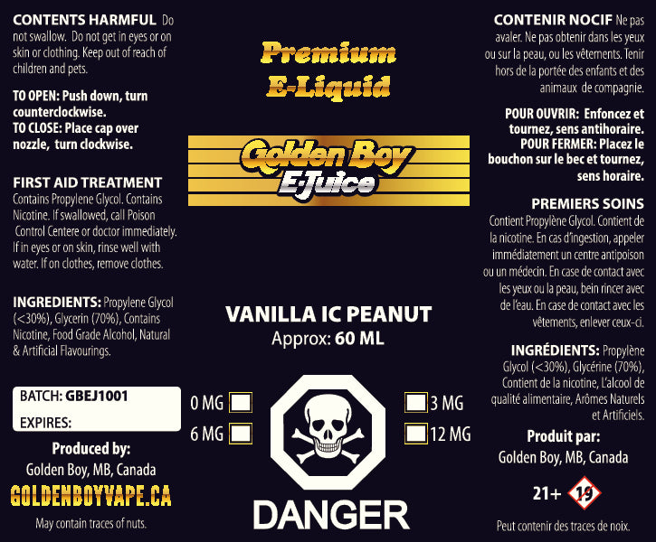 Golden Boy E-Juice - Vanilla IC Peanut