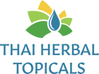 Text: Thai Herbal Topicals in soothing blue, with a logo above it. Logo is a blue water drop with rays of dark green, light green and yellow extending horizontally and upward, mimicking the compartmentalized petal arrangement of a ginger flower.