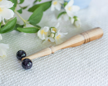Amethyst and Teak Wood Double Sphere Facial Roller