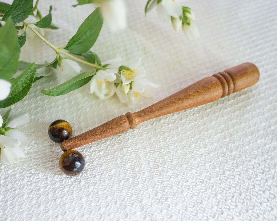Tiger's Eye and Teak Wood Double Sphere Facial Roller