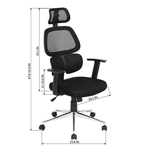 Ergonomic Mesh Office Chair High Back Swiver Computer Desk Task Chairs with Adjustable Lumbar Support, Backrest, Headrest, Armrest and Seat Height for Home Office Conference Room