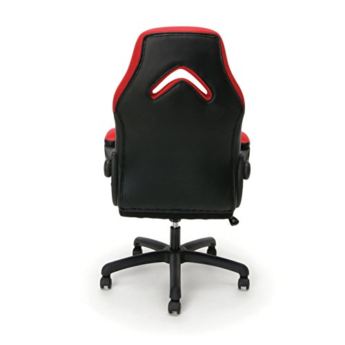 Essentials Racing Style Leather Gaming Chair - Ergonomic Swivel Computer, Office or Gaming Chair, Gray (ES-3085-GRY)