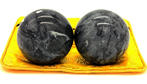 Dark Grey Jade Baoding Health Stress Exercise Balls Chinese Exercise Stress Balls Craft Collection (bag-packed)