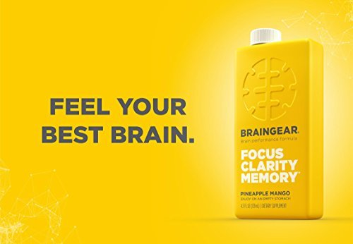 BrainGear Liquid Brain Performance Drink - Supports Brain Function, Focus, Memory & Clarity - Pineapple Mango Flavor - Pack of 12