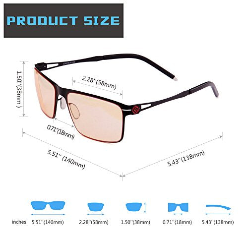 GAMEKING ULTRA 2086 Premium Blue Light Blocking Computer Glasses Gaming Glasses with Anti Glare Anti UV Tan Tint Lens for Digital Eye Strain Fatigue Relief Better Sleep Men Women