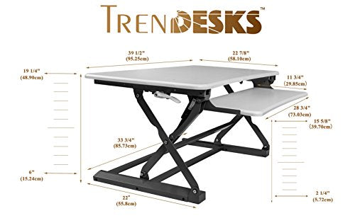 "TrenDesks E-1 (White) - Height-Adjustable Standing Desk, Fully Assembled, Large Work Space (39.5"" x 23""), Big Retractable Keyboard Tray, Powerful Gas Cylinders Riser Converter, Include One Power Strip"