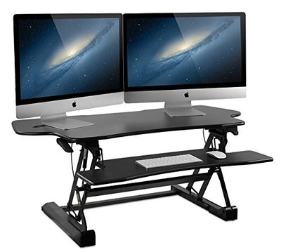 Mount-It! Large Standing Desk, 48 Inch Extra Wide Height Adjustable Sit-Stand Desk Converter for Dual Monitors, Laptop, Desktop & Keyboard, Pre-Assembled Ergonomic Riser, Black