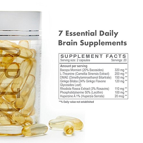 Optibiotics 7-in-1 Brain Booster For Focus, Memory & Clarity With DMAE, L-Theanine, Rhodiola Rosea, Bacopa Monnieri, Ginkgo Biloba & More