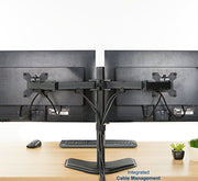 "VIVO Dual LCD Monitor Free Standing Desk Mount with Optional Bolt-through Grommet / Stand Heavy Duty Fully Adjustable fits Two Screens up to 27"" (STAND-V002F)"