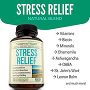 Stress Relief & Anti Anxiety Supplement - Natural Herbal Blend with Biotin, 5-HTP, Valerian, Lutein, Vitamins B1 B2 B5 B6, L-Theanine, St John's Wort, Ashwagandha, Chamomile, Niacin, Gaba, Hawthorn