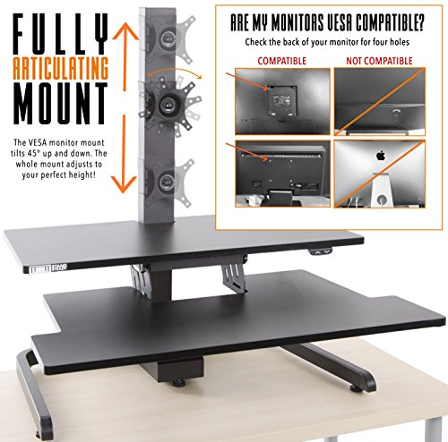 Techtonic Electric Monitor Arm Standing Desk by Stand Steady | Large Spacious Stand Up Desk | Easy Sit to Stand with the Push of a Button - Quiet! | 3 Levels to Maximize your Space! (1 Monitor Mount)