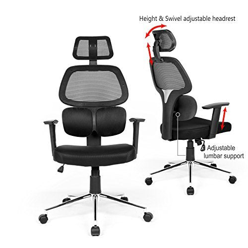 Ergonomic Mesh Office Chair High Back Swiver Computer Desk Task Chairs with Adjustable Lumbar Support Backrest Headrest Armrest and Seat Height for Home ...  sc 1 st  Altcoin Ninjas & Ergonomic Mesh Office Chair High Back Swiver Computer Desk Task ...