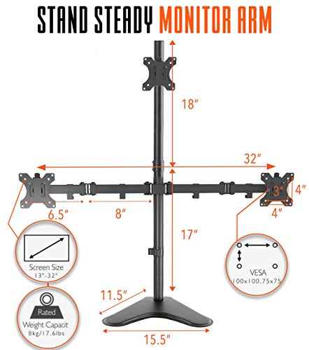 Stand Steady Monitor Arm | Height Adjustable with Full Articulation | VESA Mount Fits Most LCD/LED Monitors 13-32 Inches (3 Monitors) (Three Monitor Free Standing)