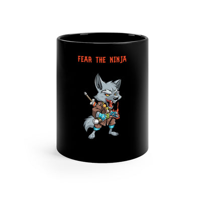 "Bitwolf ""Fear the Ninja""Black mug 11oz"