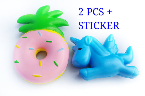 PINEAPPLE DONUT SQUISHIE+BLUE UNICORN SQUISHY SET BY LUCKY PINEAPPLE