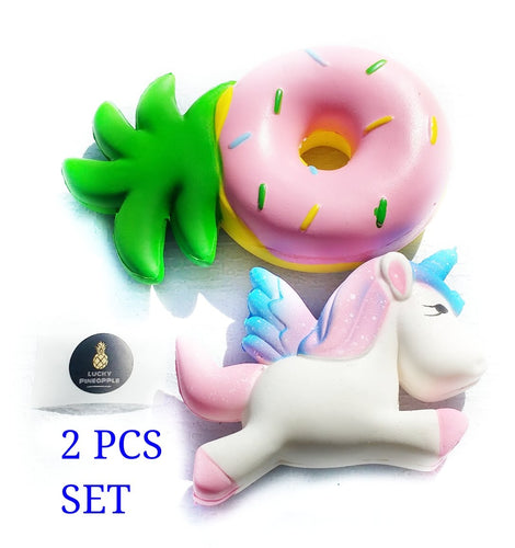Pineapple Donut Sqhuishie and Unicorn by Lucky Pineapple