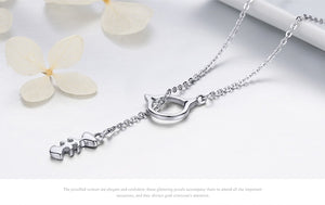 Sterling Silver Fish Bone Cat Necklace - Pets and Fashion