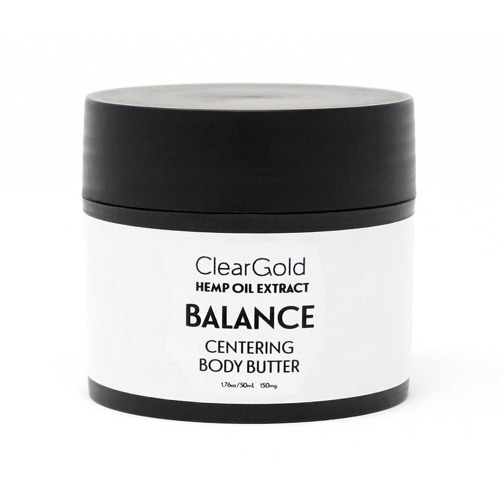 clear gold balance body butter with hemp oil extract