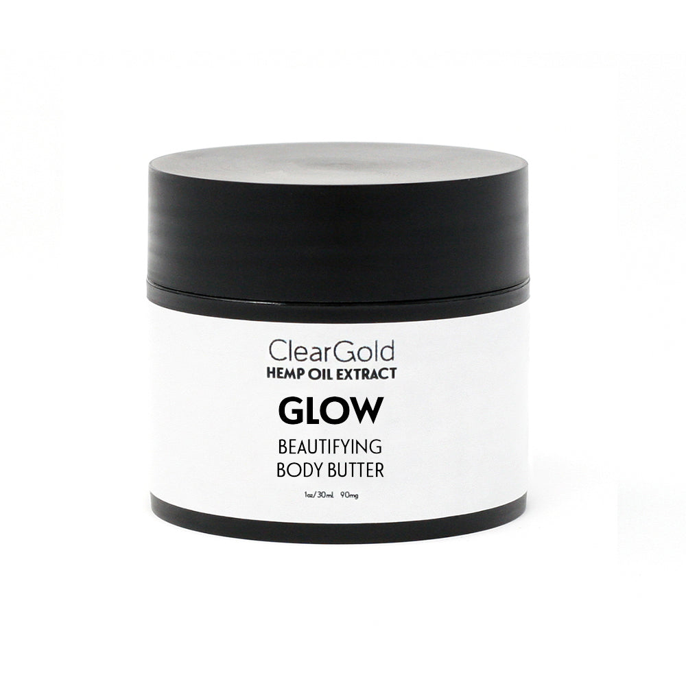 clear gold glow body butter with hemp oil extract
