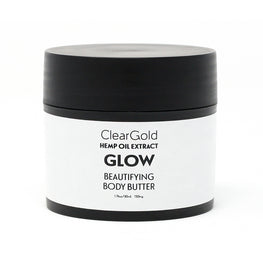 clear gold glow body butter with hemp beauty care