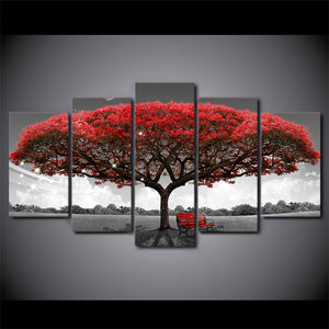 HD Black & White with Red Tree 5 Piece Canvas Set - Free Shipping