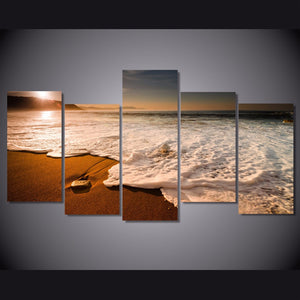 Sunset Beach Waves Canvas