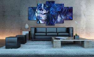 Day of the Dead Face Blue Canvas