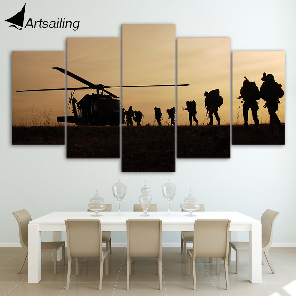HD printed 5 piece canvas art army airship sunset Paintings living room decor canvas prints and posters free shipping ny-6534