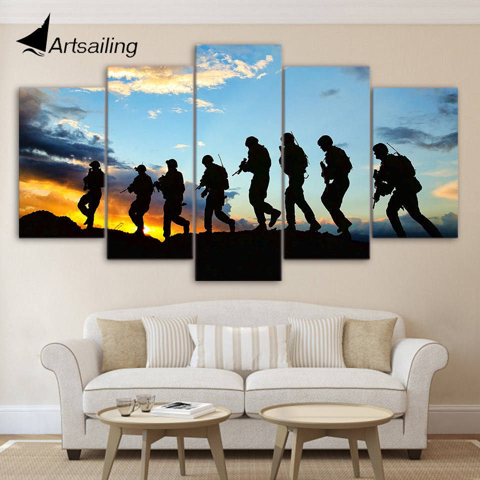 HD printed 5 piece canvas art American Soldier canvas feathered Painting wall pictures for living room Free shipping CU-1365B