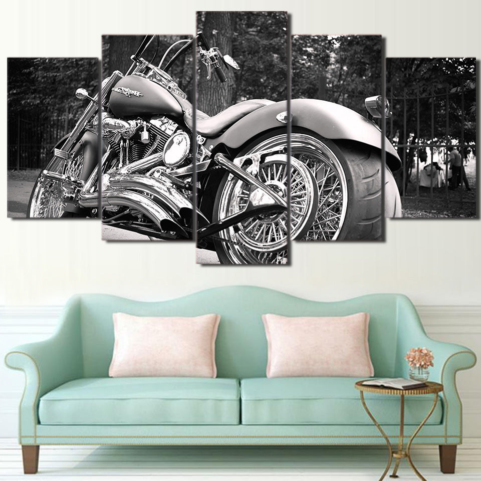 Motorcycle Black & White Canvas