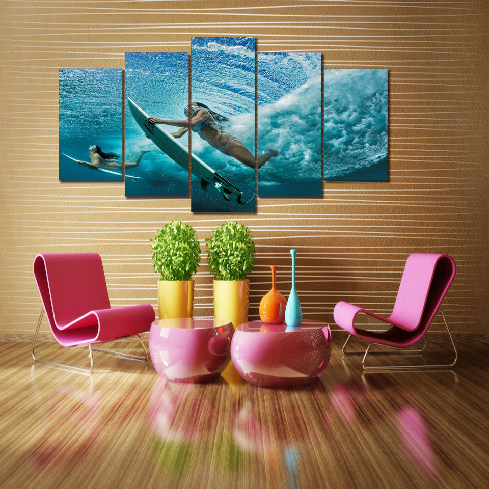 Girl Surfing Canvas