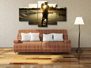 Sunset Beach Couple Canvas