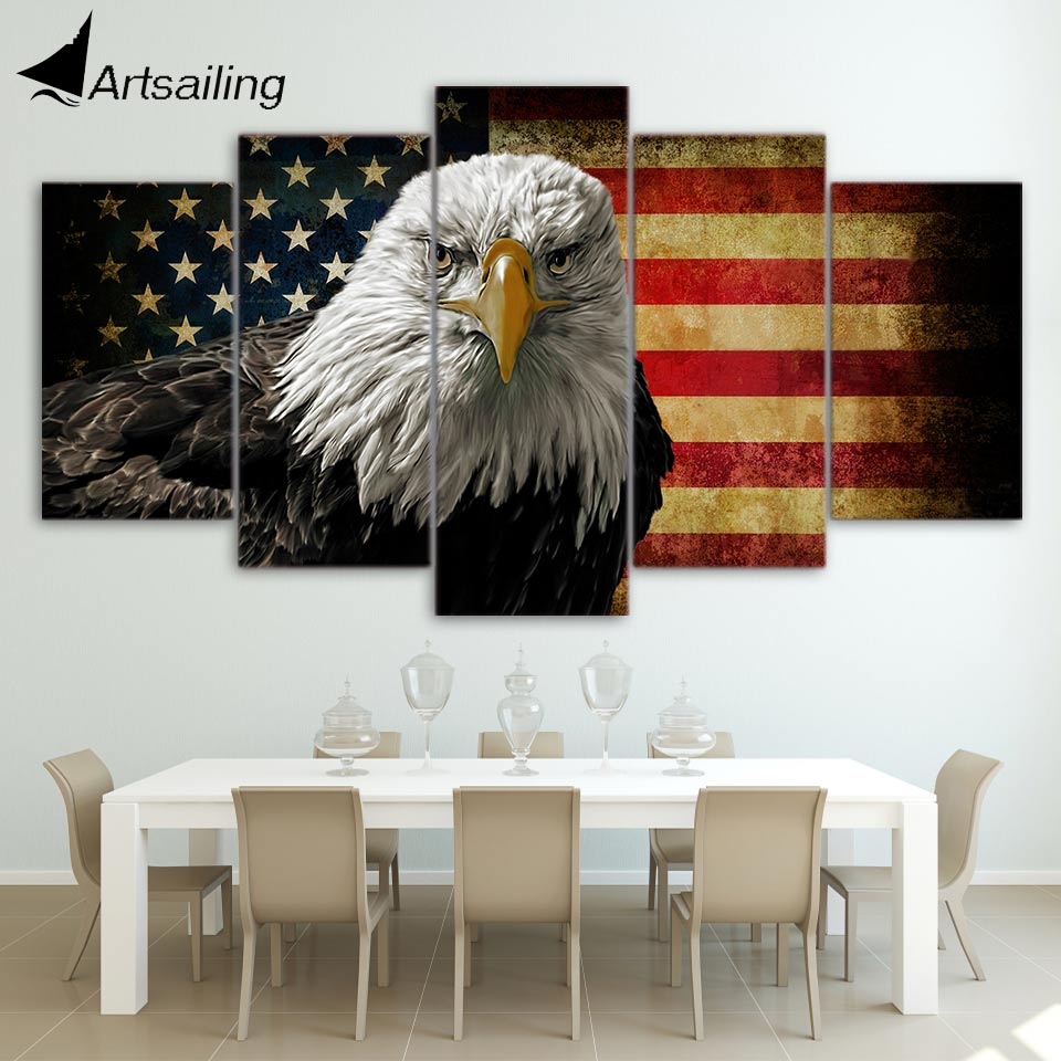 HD Printed 5 Piece Canvas Art Eagle Painting US Flag Poster Wall Pictures for Living Room Framed Modular Free Shipping CU-1723B