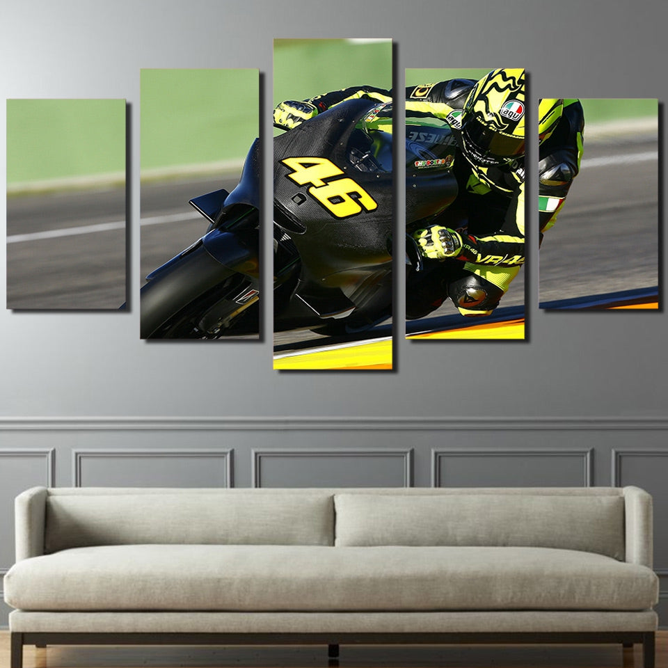 Modern Home Decor Pictures HD Printed Canvas Painting 5 Pieces Motorcycle Racing Poster For Living Room Wall Art Frame PENGDA