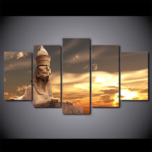 Egyptian Statue Sunset Canvas
