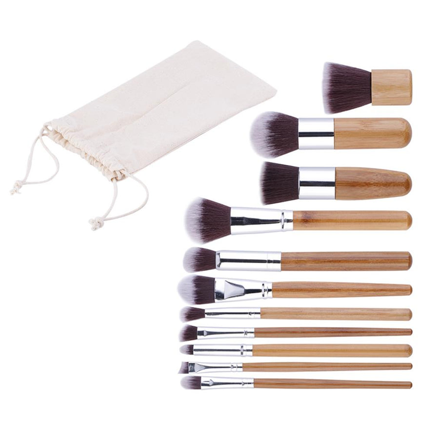 KIT Brosse de maquillage - 11pcs en  Bambou Naturel Makeup