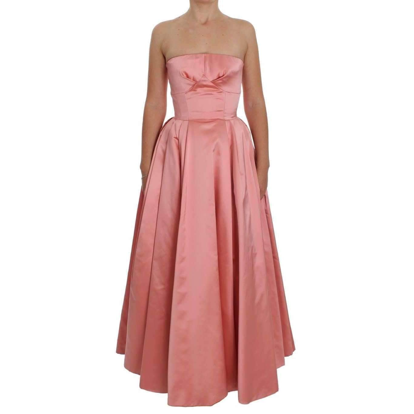Pink Silk Ball Gown Full Length Dress - Leida Fashion
