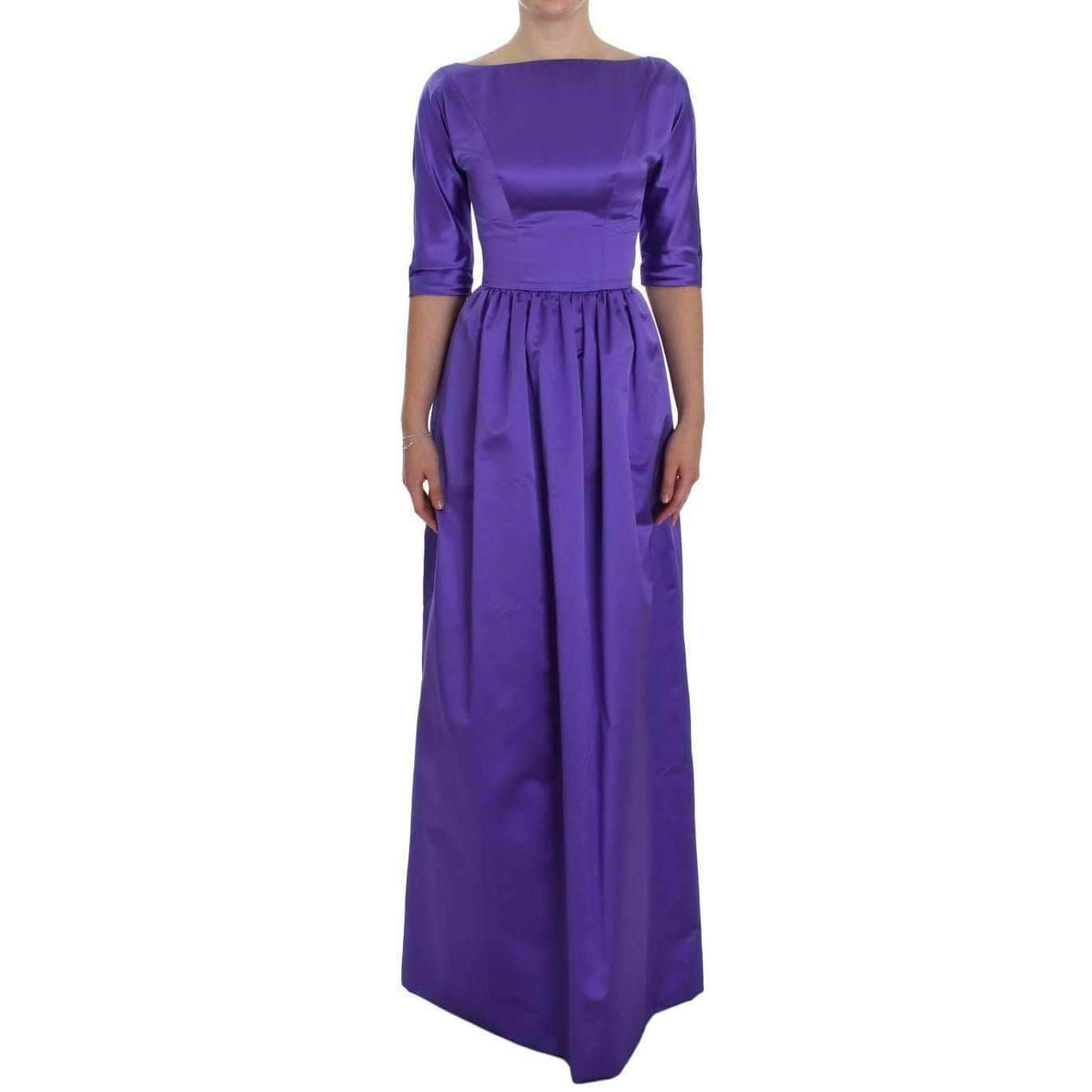 Purple Silk Ball Gown Full Length Dress - Leida Fashion