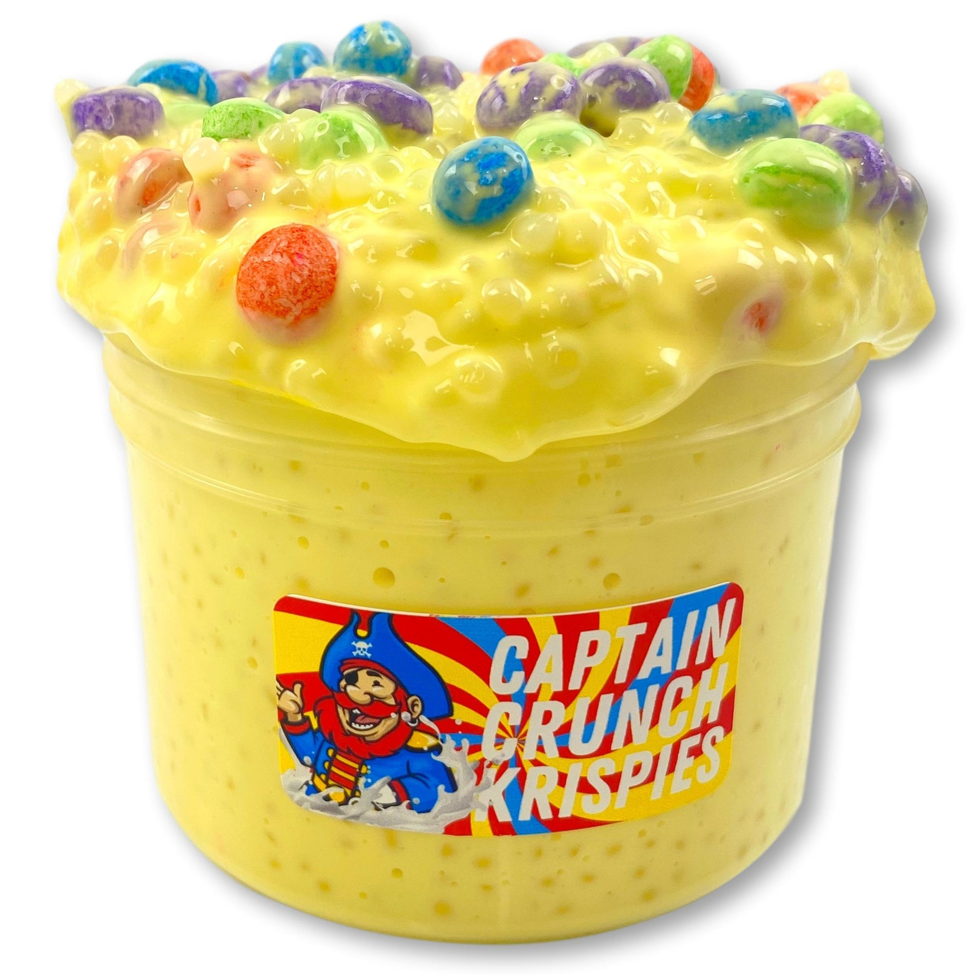 crunchy and thick white glue slushee— the base is sooo glossy and creamy.  filled with captn crunch colored jumbo floam beads and the scent is also amazing! scented with a blend of bakery and cereal scent and it smells JUST like captain crunch!