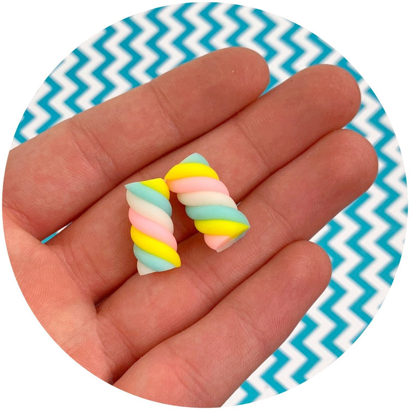 Marshmallow Twist Charm - Fimo Slices - Dope Slimes LLC - Dope Slimes LLC