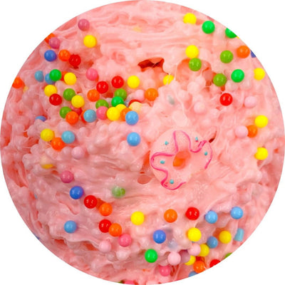Crunchy white glue slushee slime inspired by Simpson's Donut from The Simpson's! Smells exactly like a glazed donut and comes topped with rainbow pearl sprinkles and a donut charm on top!