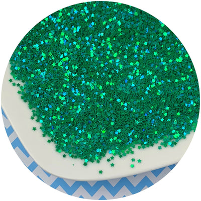 Green Holographic Stars - Fimo Slices - Dope Slimes LLC - Dope Slimes LLC