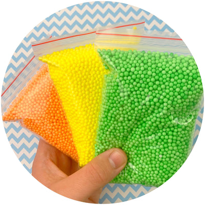 Multi-Pack Small Bright Foam Beads - Buy Slime Supplies - DopeSlimes