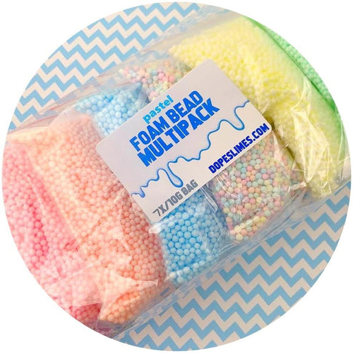 Multi-Pack Small Pastel Foam Beads - Buy Slime Supplies - DopeSlimes