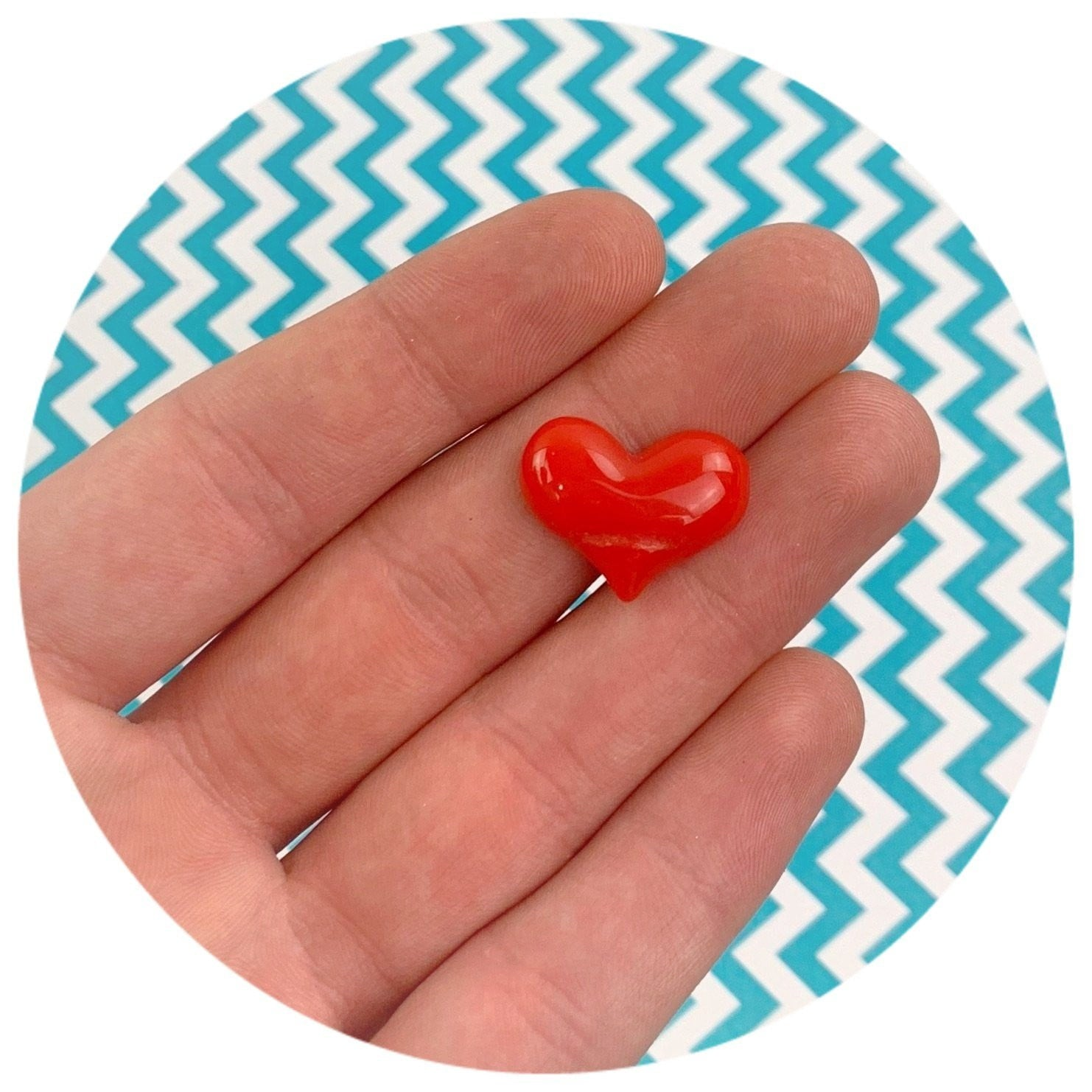 Red Heart Charm - Fimo Slices - Dope Slimes LLC - Dope Slimes LLC