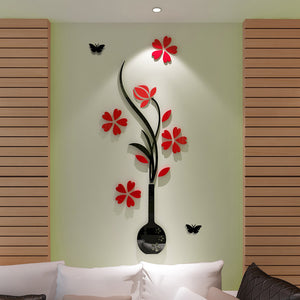 3D Vase Flower Tree Design DIY Wall Stickers Rooms Home Decor Art Decals Acrylic Decoration Sticker For Living Room Bedroom