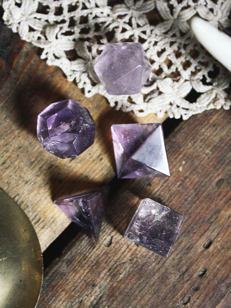 Amethyst Platonic Solids Set