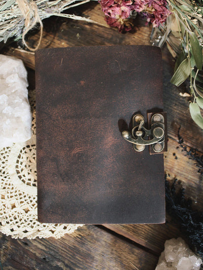 Antiqued Latch Closure Leather Journal
