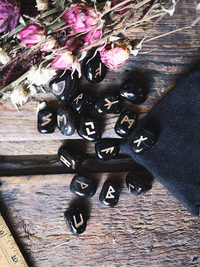 Black Agate Rune Set