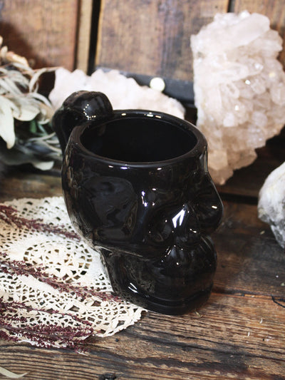 Black Skull Handled Mug